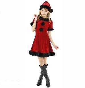 小悪魔サンタ衣装 クリスマス コスプレ 柔らかい素材のワンピ 赤×黒
