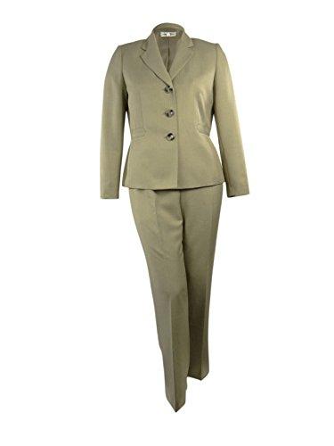 Evan Picone Women's Atlantis Pinstripe Pant Suit (18, Taupe)