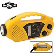 Stansport Compact Crank, Solar And Battery Powered Am/Fm Radio/Flashlight