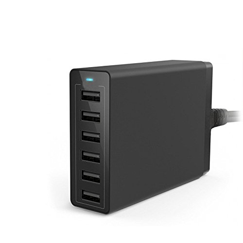 【 10A スマート出力 】 50W 6ポート 10A高出力 デスクトップ充電器 USB急速充電器 ACアダプタ コンパクト スマートフォン / タブレット 高速充電可能対応 ブラック