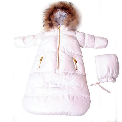 Bebebon-Complete-Infant-Baby-Snowsuit-Stroller-Bunting-Footmuff-Layette-Coat-Fur-Snowsuit-and-Sack-White