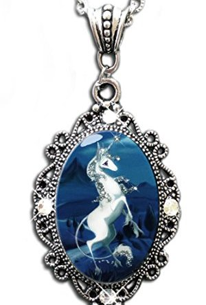"Alkemie ""The Last Unicorn"" Cameo Pendant Necklace with Sparkles"
