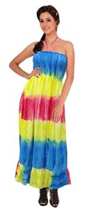 La-Leela-Likre-Partywear-Stripe-Handmade-Tie-Dye-Long-Tube-dress-Backless-Blue