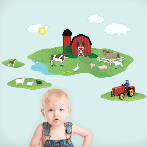 Farm with Barn Animals Wall Decals Repositionable