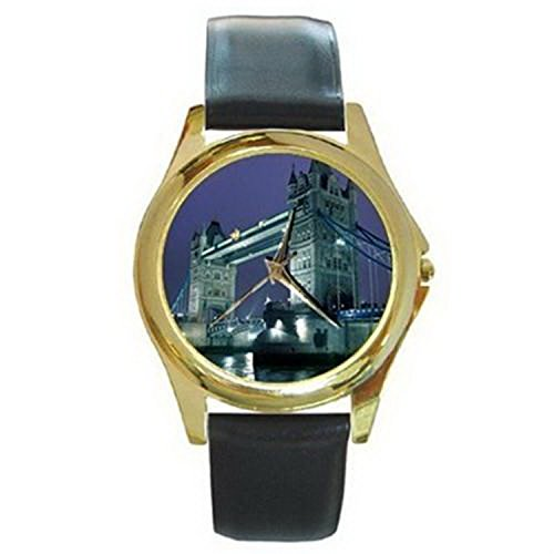 CDG717 London Bridge at Night Gold Watch Black Leather