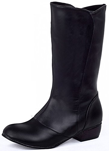 Summerwhisper Women's Stylish Round Toe Block Low Heel Slip-on Mid Calf Biker Boots Black 6.5 B(M) US