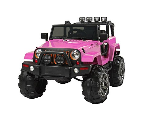 Pink Jeep Style W/Remote Ctrl, 3 Spds, Spring Susp., LED Lights