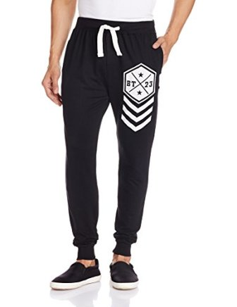 Body Tantrum Men's Track Pants (BTBTBK_34W x 31L_Black)
