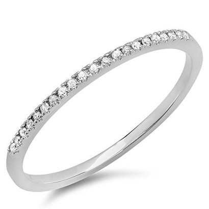 008-Carat-ctw-10k-White-Gold-Round-White-Diamond-Ladies-Dainty-Anniversary-Wedding-Band-Stackable-Ring-Size-7