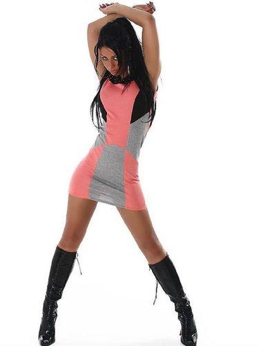 Edles Party Minikleid Pink Grau mit Nieten (9787)