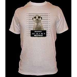 QUIPS AND QUOTES TSHIRTS (MEERKAT MUGSHOT) colour WHITE size LARGE