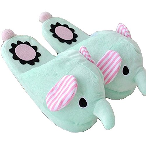 Come Home Love®Winter Warmth Household Warmth Plush Slippers, elephant blue