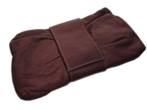 Kleine weiche Nappa Leder Clutch - kleine Handtasche braun made in italy