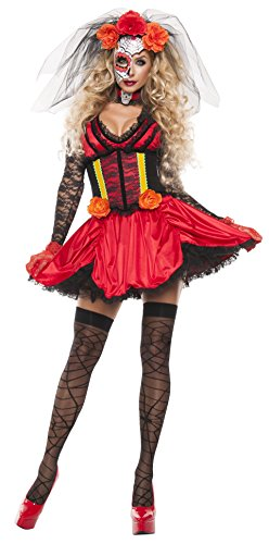 Women's Cinched Day Of The Dead 3 Piece Costume Dress Set