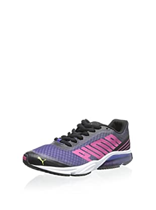 PUMA Women's Powertech Defier Fade Running Shoe (Black/Beetroot Purple/Sunny Lime)