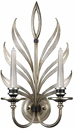 Fine Art Lamps 814650, Villandry Silver Candle Glass Wall ... on Silver Wall Sconces For Candles id=30932