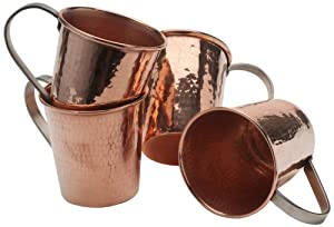 Sertodo Copper Moscow Mule Mug, Hammered Copper, 18 to 20-Ounce, Set of 4