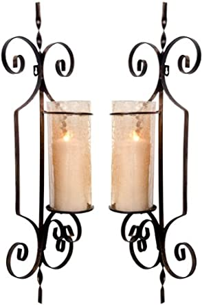 Amazon.com: Set of 2 Large Gold Hurricane Wall Sconces ... on Large Wall Sconces Candle Holders Decorative id=33566