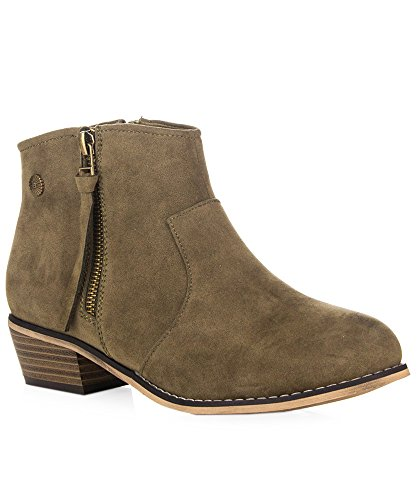 ROF Petty-02 Women's Fashion Western Inspired Almond Pointy Toe Vegan Stacked Heel Ankle Booties OLIVE SUEDE ( 8.5 )