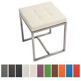 CLP gepolsterter Edelstahl Sitz-Hocker BARCI, 40 x 40 cm, bis zu 12 Farben wähbar, Sitzhöhe 48 cm