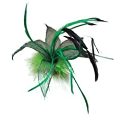 Green Sinamay Leaf and Feather Beak Hair Clip Slide Brooch Corsage Fascinator 18cm (7.1