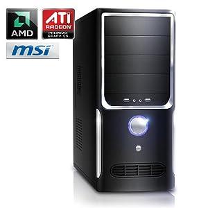 Leiser Aufrüst-PC 703 - DualCore-Barebone PC! Computer-System mit AMD Athlon II X2 250 2x 3000 MHz, 4GB DDR3 RAM, MSI Mainboard, Radeon HD 3000, 7.1 Sound, Gigabit LAN
