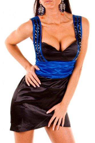 Sexy Damen Satin Kleid Cocktail Abendkleid Minikleid Partykleid mit Steinchen Satinstoff