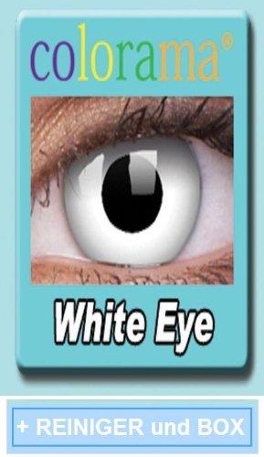 Farbige Kontaktlinsen Crazy Lenses Kostüm Karneval WHITE EYE / WEISS weiß inkl. 60 ml Pflegemittel und Behälter