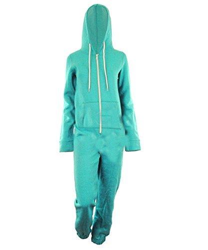 Dayna Damen Unisex Fleece ausgekleidet Plain Farbige Kapuzen mit Cuff Reißverschluss vorne Damen Jumpsuit Overall Onesie
