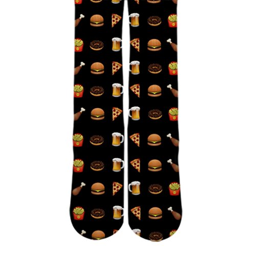 DopeSox Men's Food Emoji Full Print Digital Socks One Size (6-12) White