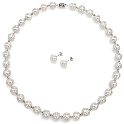 Sterling-Silver-10-105mm-White-Freshwater-Cultured-Pearl-Necklace-and-Stud-Earrings-Set-18