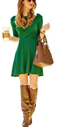 ZEARO Damen Kleid elegante Doppelkreuz Overall Partykleid Abendmode