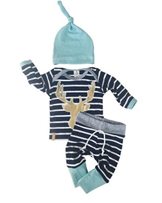 3pcsSet-Newborn-Baby-Boy-Girl-Striped-Long-Sleeve-Deer-Tops-Pants-Hat-Outfits