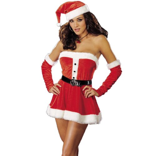 Dreamgirl Women's Santa's Sweetie Costume,Red,Small