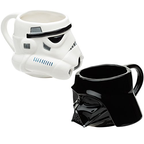 Set of 2 Sculpted Ceramic Mugs of Darth Vader & Stormtrooper Helmets from Star Wars, BPA-free