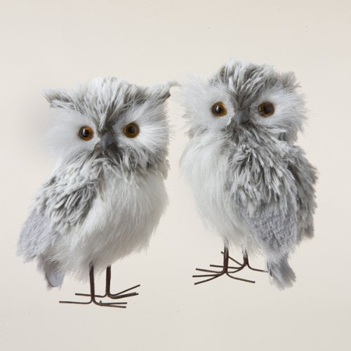 Pair of Furry Gray Owls Set 2 Piece Ornament