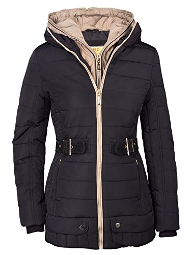 NEU DAMEN WINTER STEPP PARKA MANTEL JACKE 2in1 KAPUZE LANG ALASKA