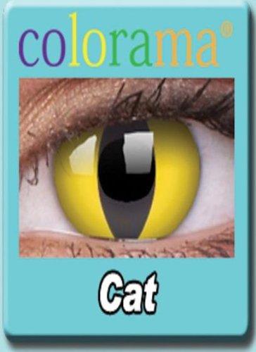 Farbige Kontaktlinsen Crazy Motivlinsen KATZENAUGEN Katze Kostüm Karneval CAT EYE - YELLOW - Mit Verdrehschutz!!