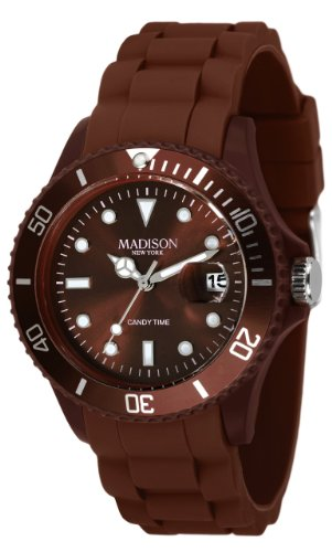 Madison New York Unisex-Armbanduhr Candy Time Analog Silikon braun U4167-19/2