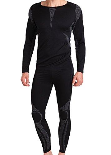 Sport Funktionswäsche Herren Set (Hemd + Hose) Seamless von celodoro – Ski-, Thermo- & Funktionswäsche ohne störende Nähte mit Elasthan – Funktionsunterwäsche in versch. Farben