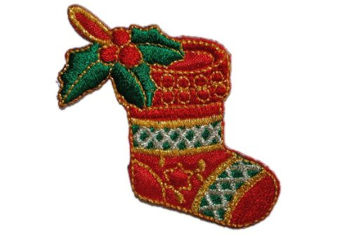 Nikolausstiefel 5,8 cm * 6,1 cm BÜGELBILD AUFNÄHER APPLIKATION Weihnachtsmann Stiefel Nikolaus Schuh Weihnachten Weihnachtsstiefel Geschenke Winter PATCH