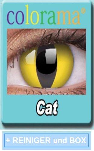 Farbige Kontaktlinsen Crazy Lenses Kostüm Karneval CAT EYE / KATZENAUGEN inkl. 60 ml Pflegemittel und Behälter