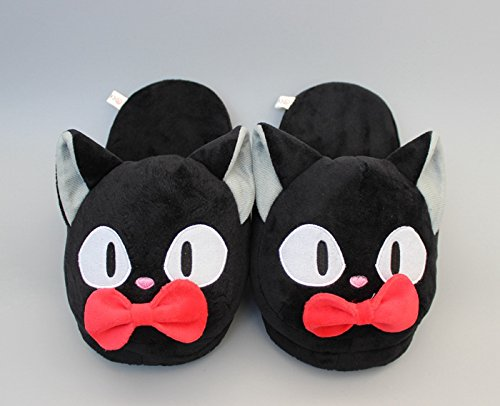 Fatflyshop - Kiki's Delivery Service Slippers Jiji Cat Anime Plush Indoor Bedroom Winter Cosplay Slipper 11