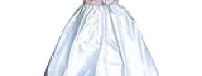 Short Sleeve Silk Dupioni Christening Gown #C40
