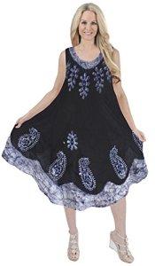 La-Leela-Soft-RAYON-HAND-Tie-Dye-Paisley-Casual-Border-Short-Dress-Dark-blue
