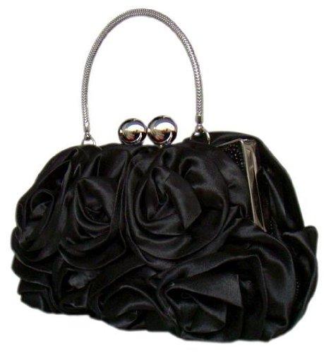 Edle Handtasche/Clutch m.Blüten-Applikation in Schwarz