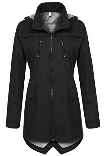 Meaneor Women's Light Weight Wind Raincoat and Outdoor Rain Jacket Black XXL