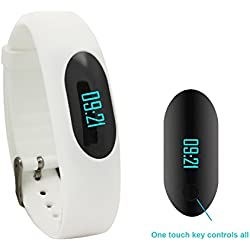 Willful Non-Bluetooth Pedometer Bracelet Fitness Tracker Wristband with Calorie Counter Walking Distance Step Counter Sleep Monitor Time / Date Display for Outdoor Running Walking (White)