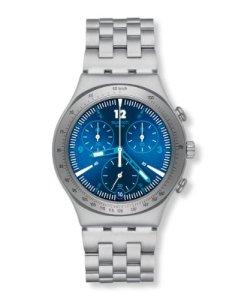Swatch YCS575G - Reloj cronógrafo de cuarzo unisex con correa de acero inoxidable, color plateado