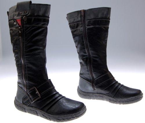 Stiefel Damen Schwarz Schuhe gefüttert Winter Stiefel Gr. 38
